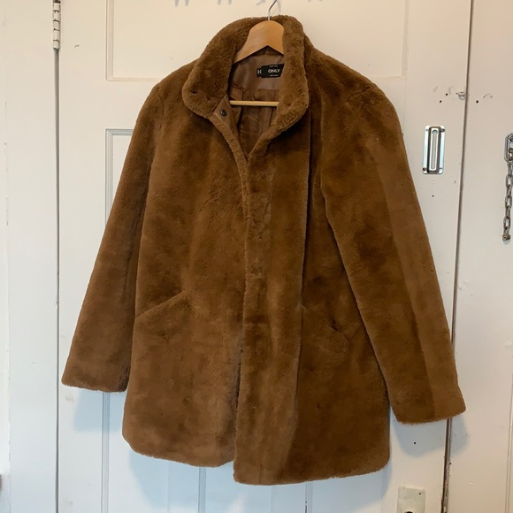 Only brown faux fur coat
